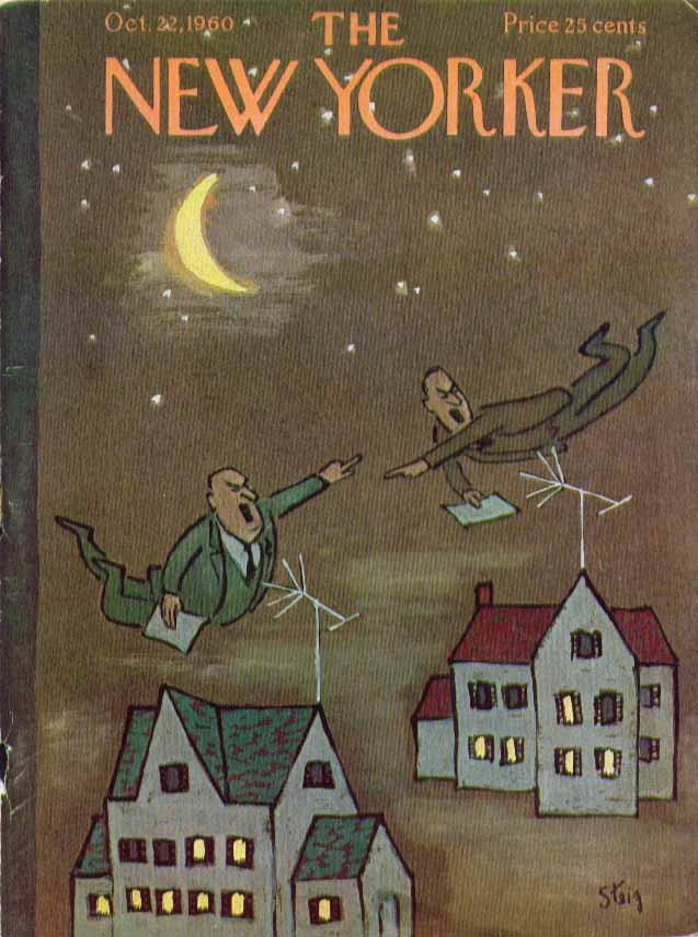 New Yorker cover Steig politicians antennae 10/22 1960