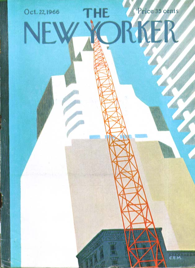 Image for New Yorker cover Martin red crane reaches 10/22 1966