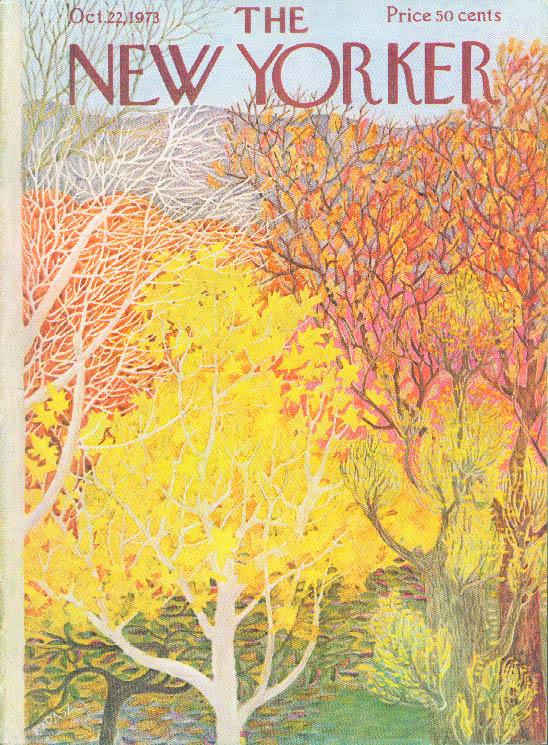 New Yorker cover Ilonka Karasz fall foliage 10/22 1973