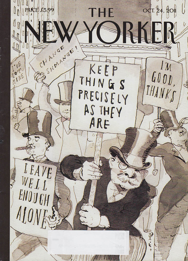 New Yorker cover 10/24 2011 Blitt: Wall Street says Leave Well Enough Alone