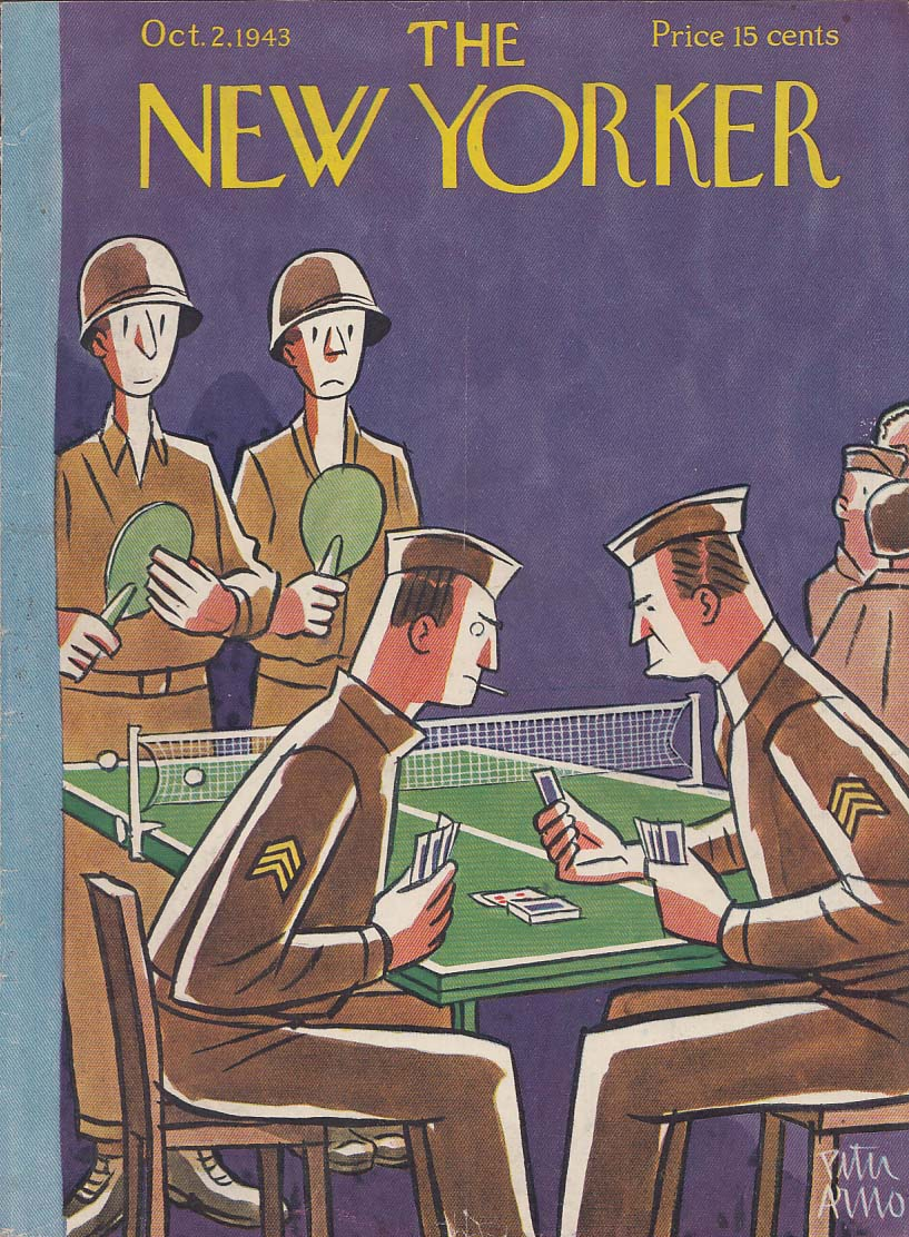 New Yorker cover 10/2 1943 Peter Arno sergeants gin rummy trumps GI ping pong