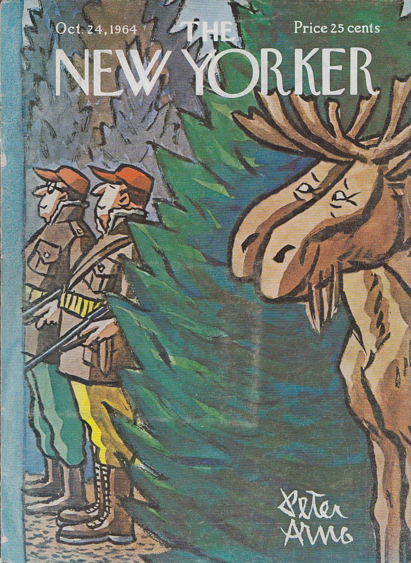 New Yorker cover Arno hunters and smug moose 10/24 1964