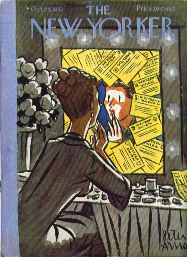 Image for New Yorker cover Arno makeup & telegrams 10/25 1952