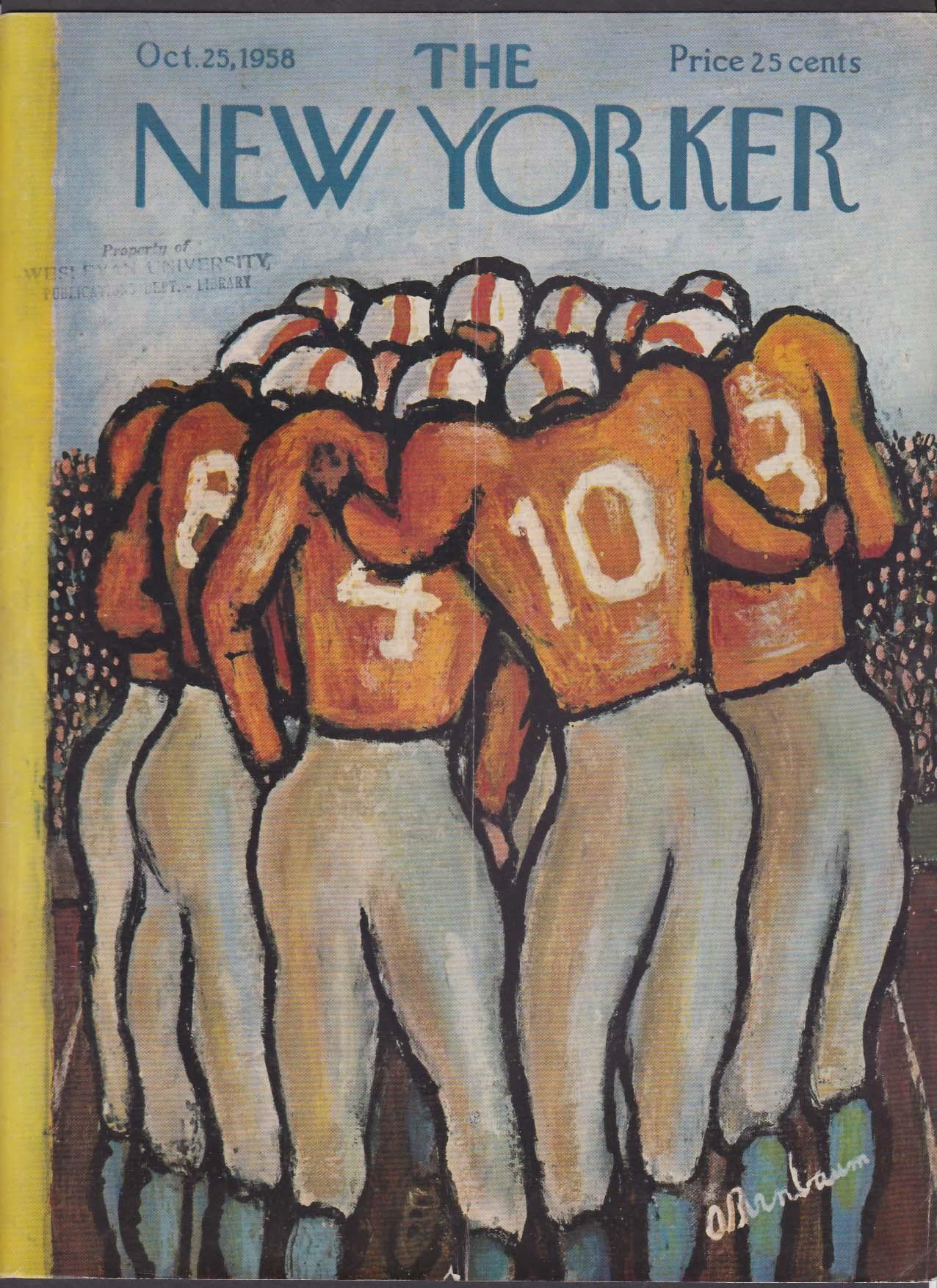New Yorker cover Birnbaum football huddle 10/25 1958