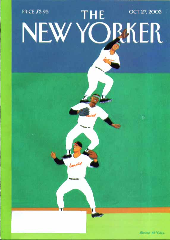 Image for New Yorker cover Bruce McCall outfielder 3-tall pyramid at fence 10/27 2003