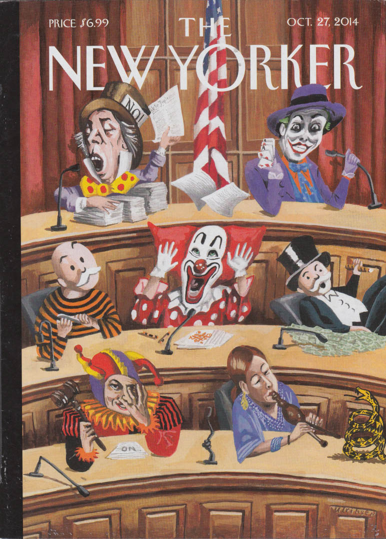 New Yorker cover 10/27 2014 Ulriksen The US Congress as clowns