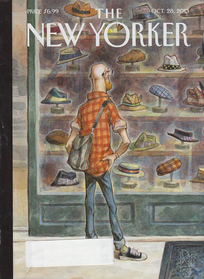 New Yorker cover 10/28 2013 De Seve: bald guy shopping for a hat