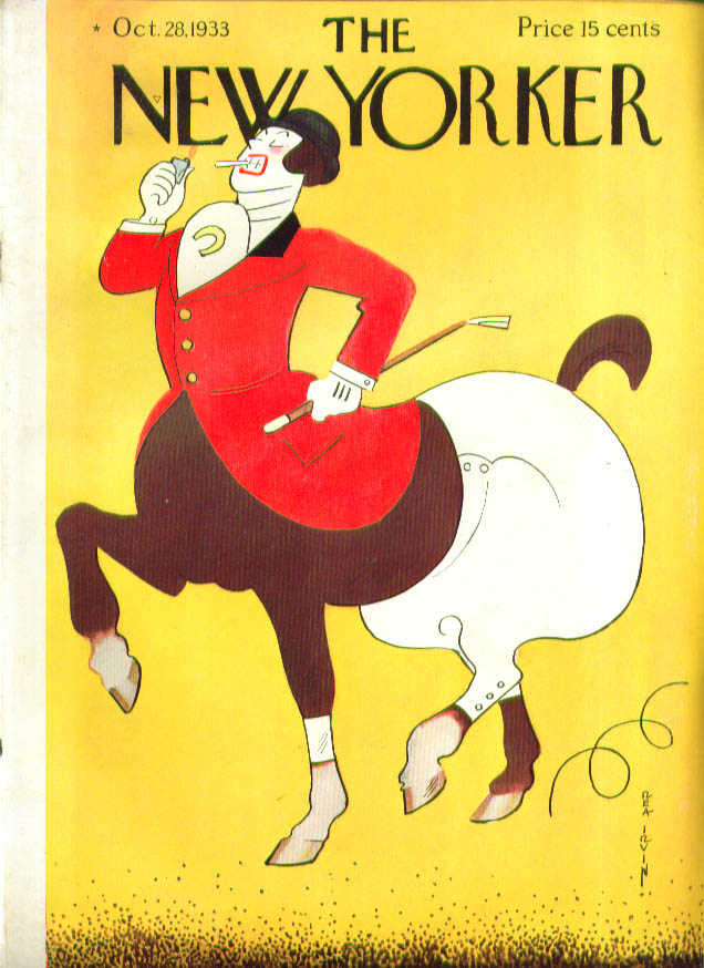 New Yorker cover Irvin Equestrienne Kentaurides smokes 10/28 1933 1934 Packard