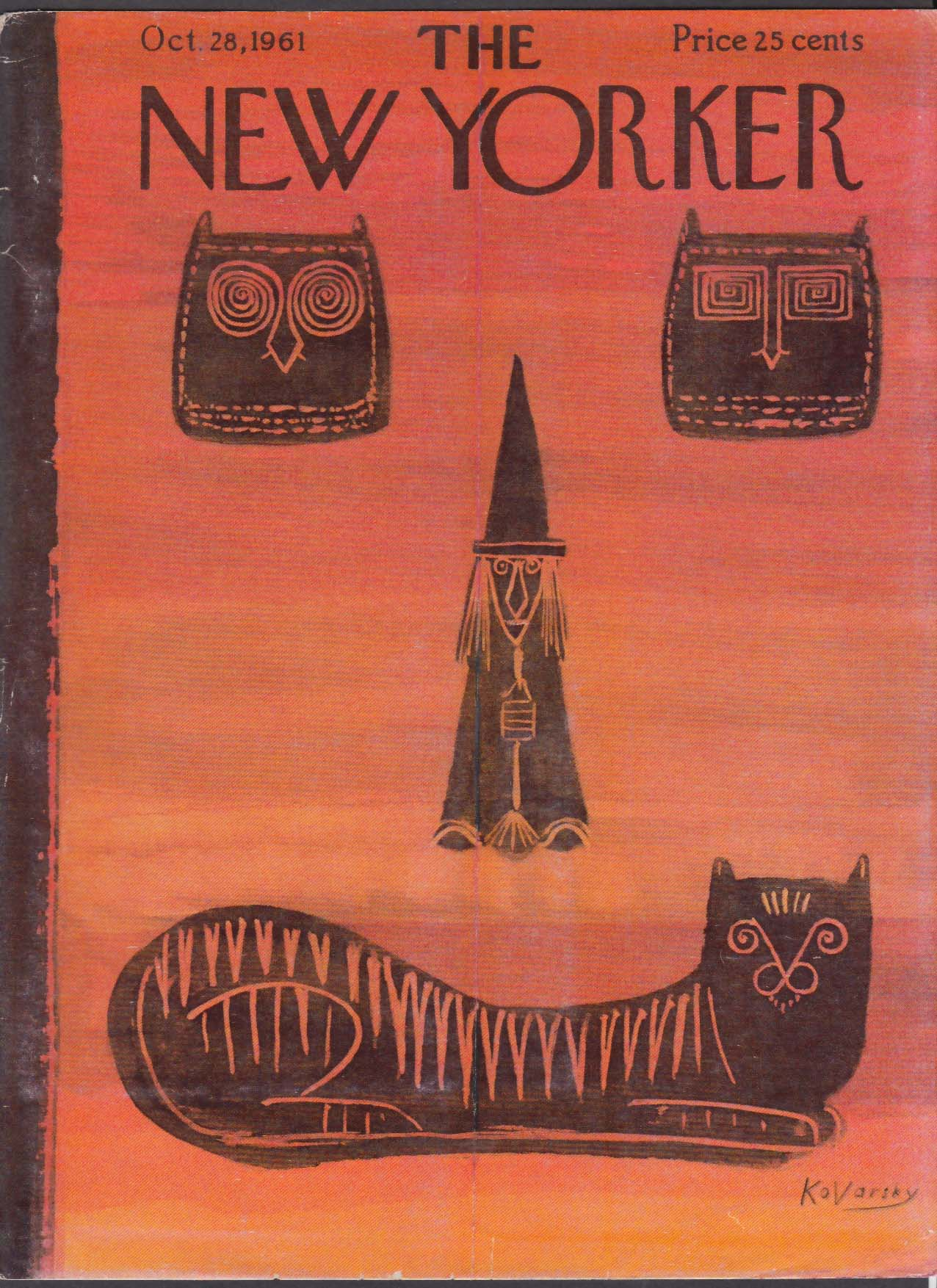 Image for New Yorker cover Kovarsky Halloween cat faces 10/28 1961