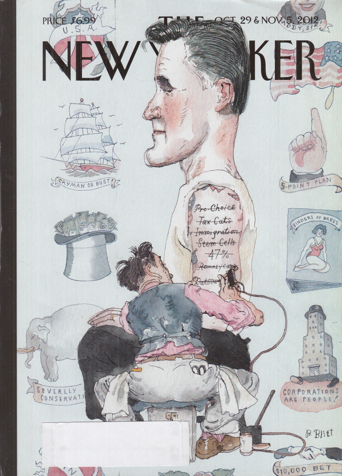 New Yorker cover Blitt 10/29 2012 Romney gets tattooed promises inked out