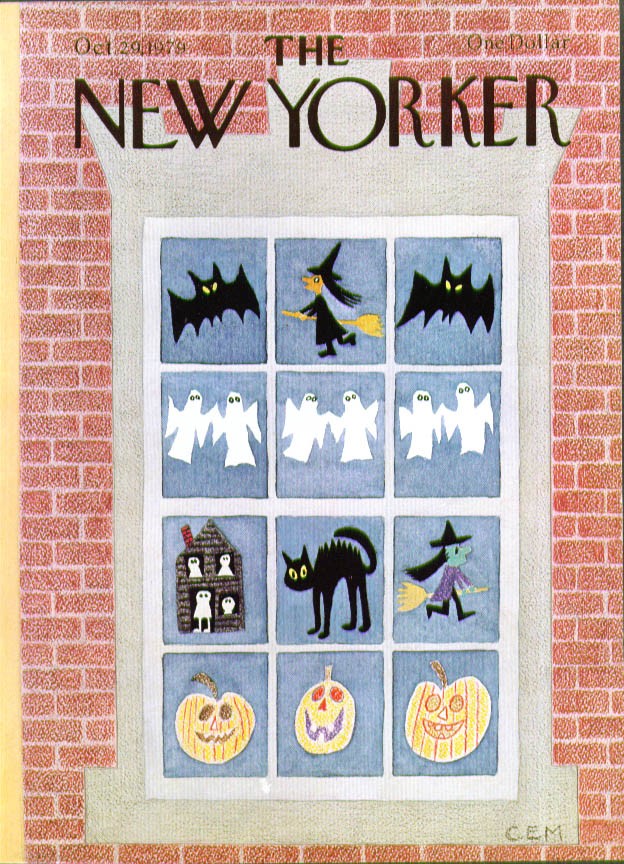 Image for New Yorker cover Martin Halloween window bats witches ghosts pumpkins 10/29 1979