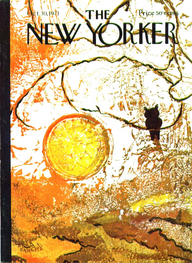 New Yorker cover Carlita owl & fall sunset 10/30 1971