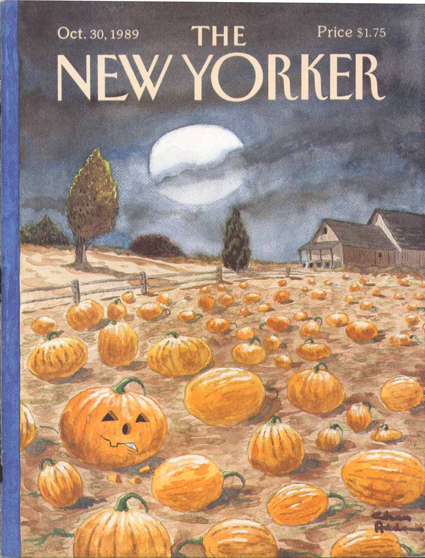 New Yorker cover Addams Jack-o-Lantern field 10/30 1989