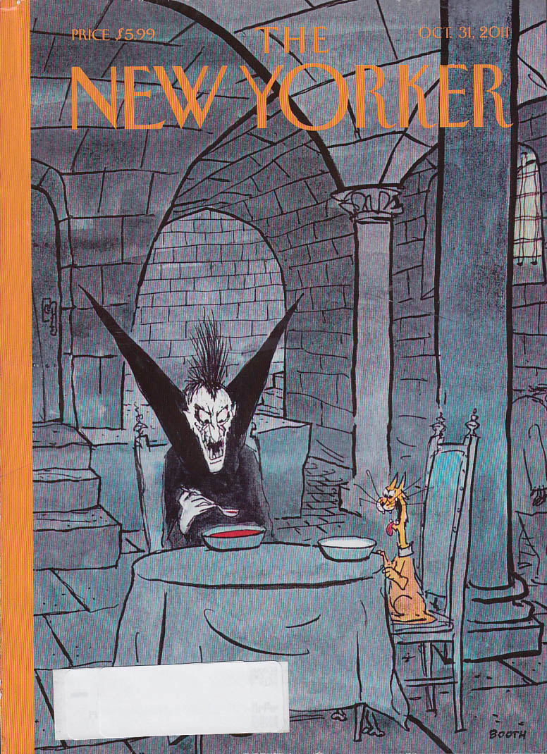 New Yorker cover 10/31 2011 Booth: Dracula & cat dine on blood & milk