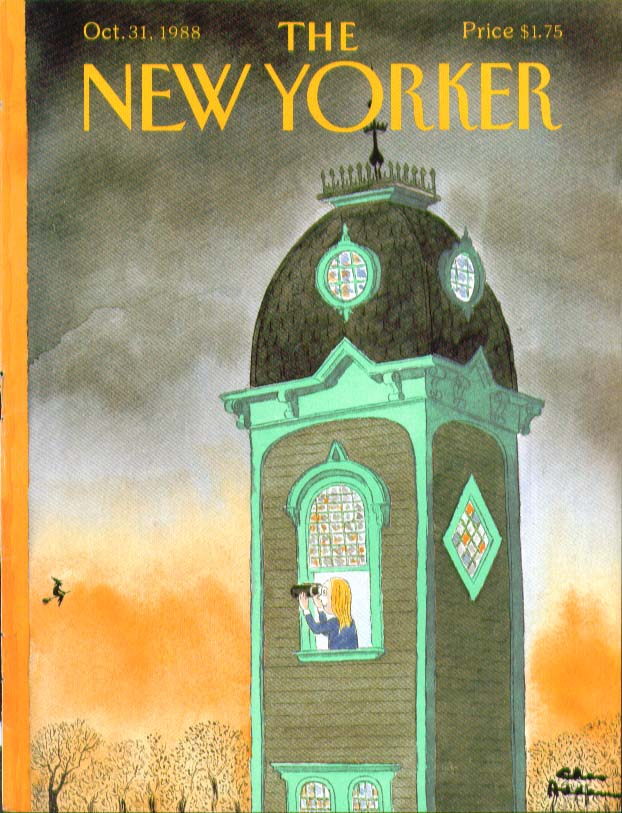 New Yorker cover Addams spotting the witch 10/31 1988