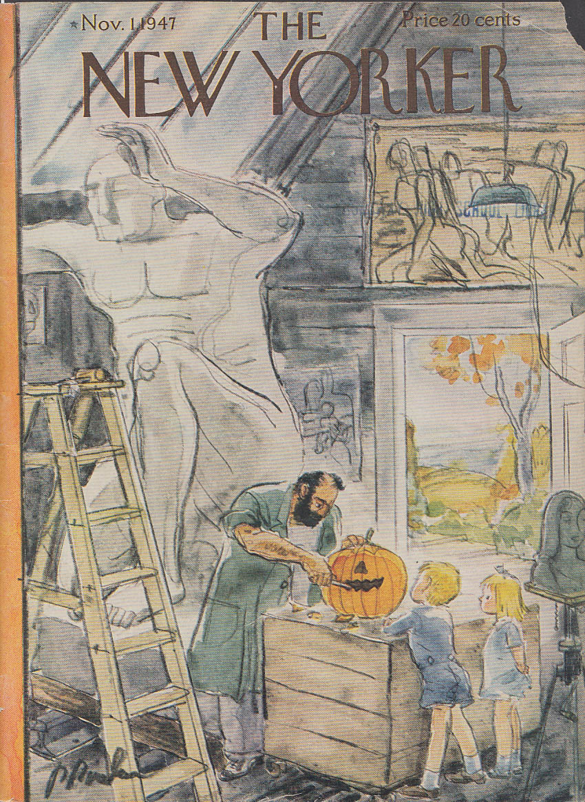 New Yorker cover Barlow sculptor carves kids Halloween Jack-o-Lantern 11/1 1947