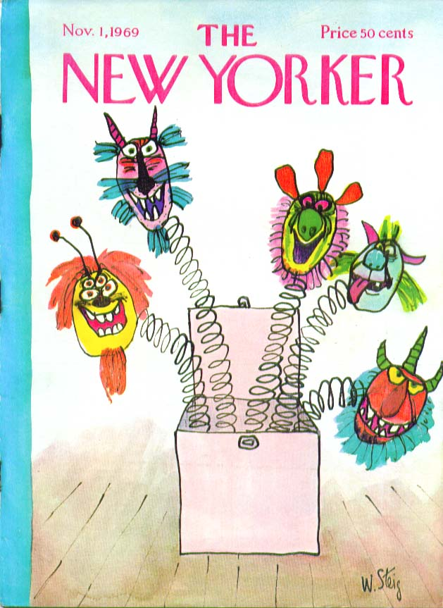 New Yorker cover Steig 5-headed jack-in-box 11/1 1969