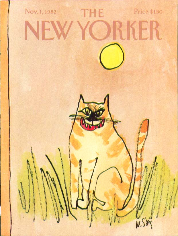 New Yorker cover Steig fearsome pussycat face 11/1 1982