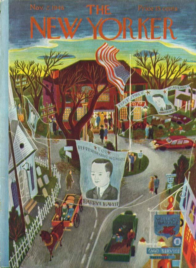 New Yorker cover Karasz village on election 11/2 1946