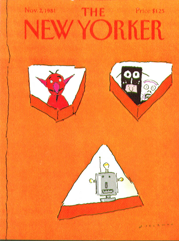 New Yorker cover Blechman trick-or-treaters 11/2 1981