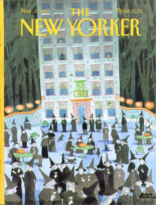 New Yorker cover Addams witches sidewalk café 11/2 1987