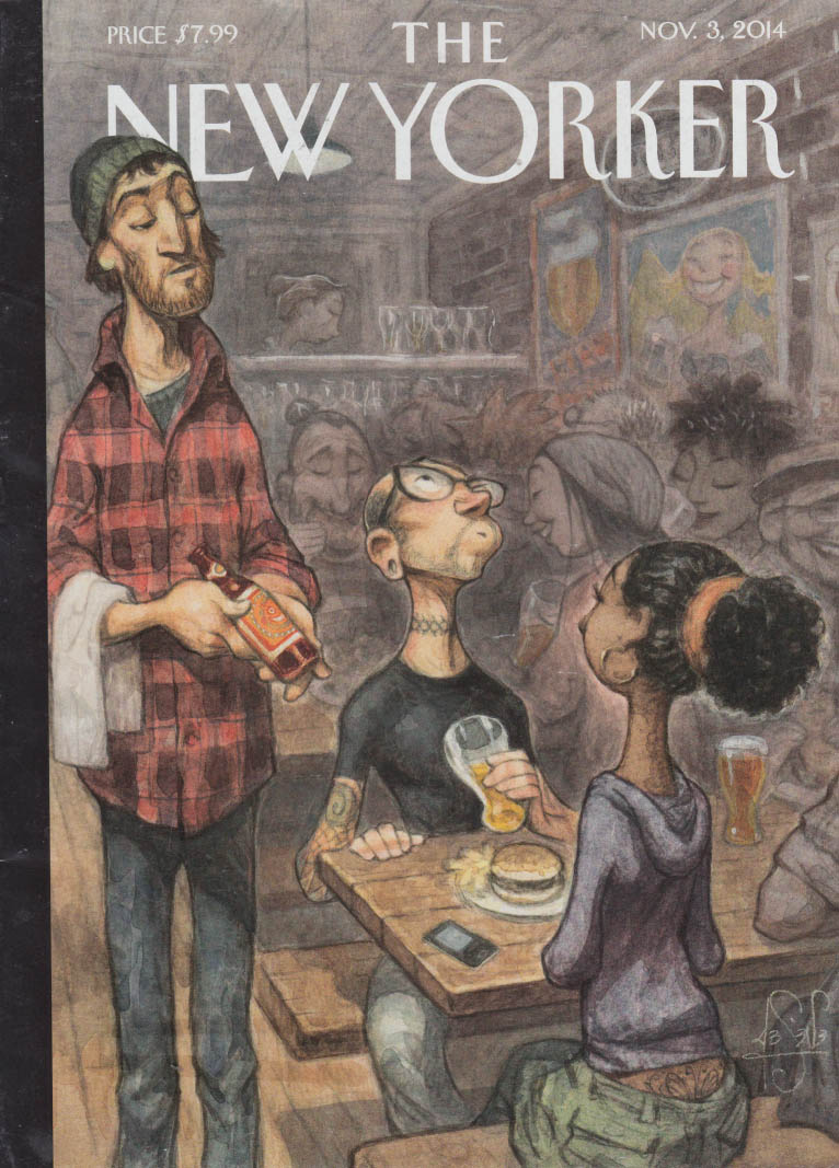 New Yorker cover 11/3 2014 De Seve: diner swooshing a beer sip at a burger joint