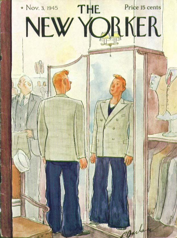 New Yorker cover Barlow sailor gets new suit 11/3 1945