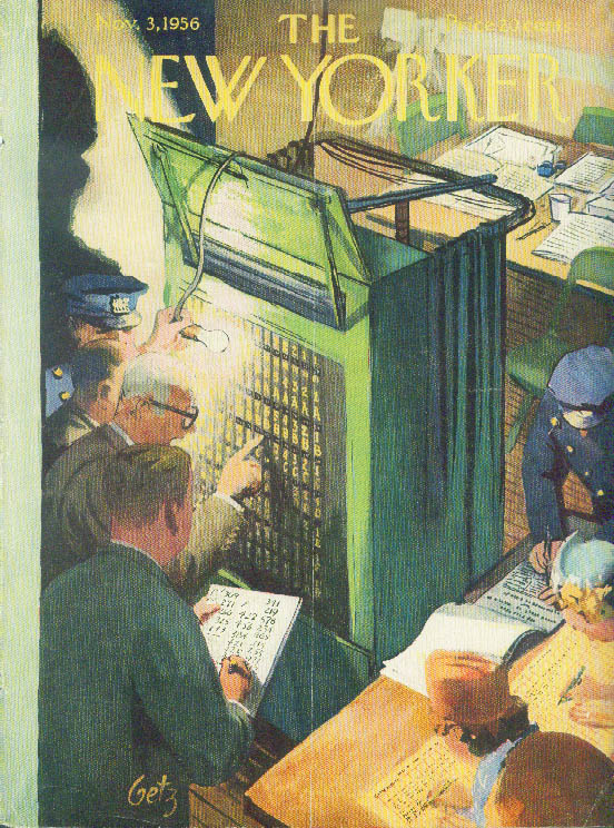 Image for New Yorker cover Getz voting machine recount 11/3 1956