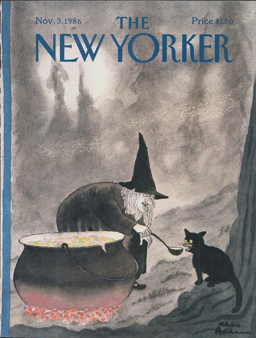 New Yorker cover 11/3 1986 Chas Addams witch gives potion to black cat