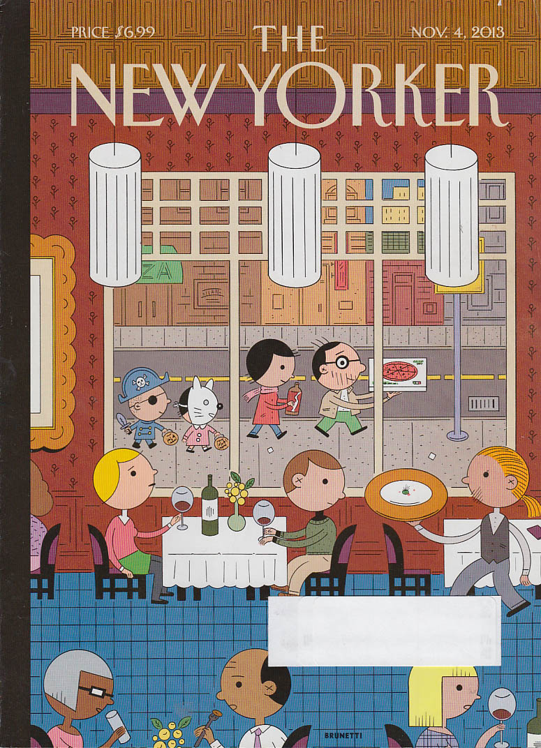 New Yorker cover 11/4 2013 Brunetti: Halloween family passes fou-fou restaurant