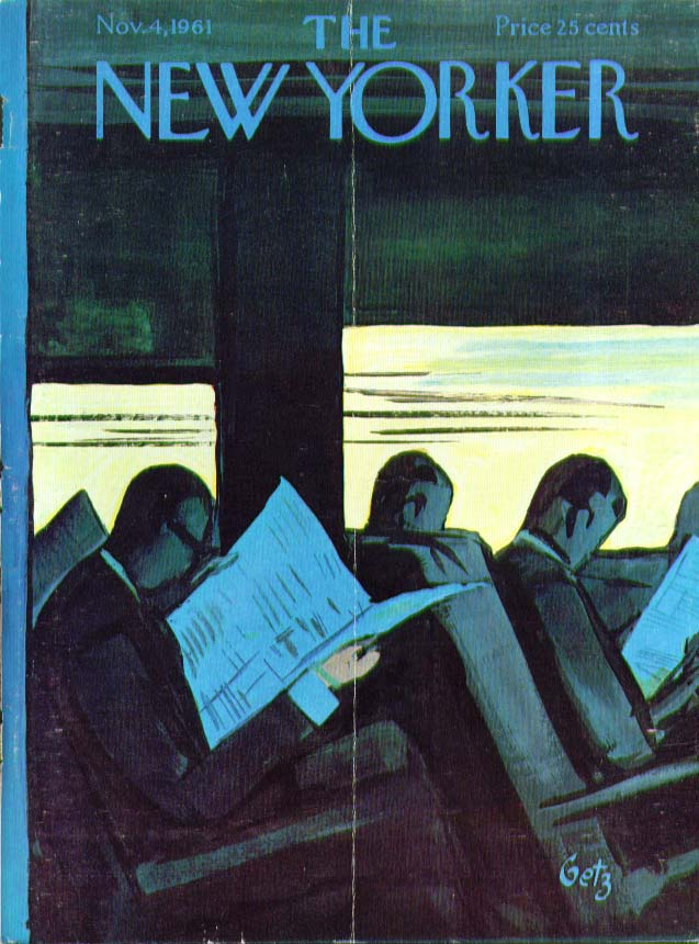 Image for New Yorker cover Getz commuters read paper 11/4 1961