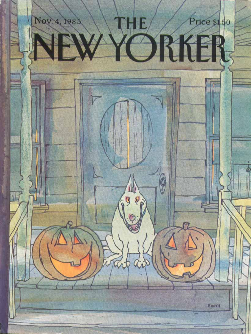New Yorker cover Booth maniac dog & pumpkins 11/4 1985