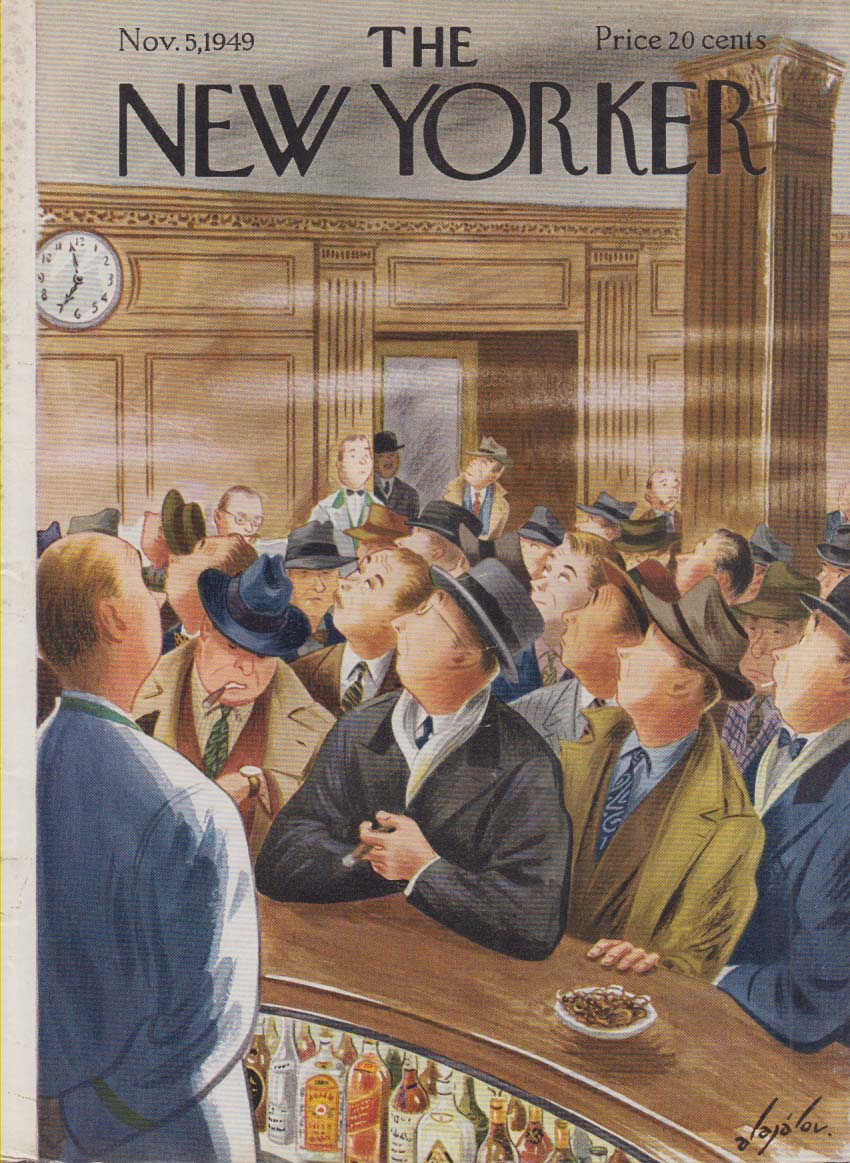 New Yorker cover Alajalov 7PM opens bar 11/5 1949