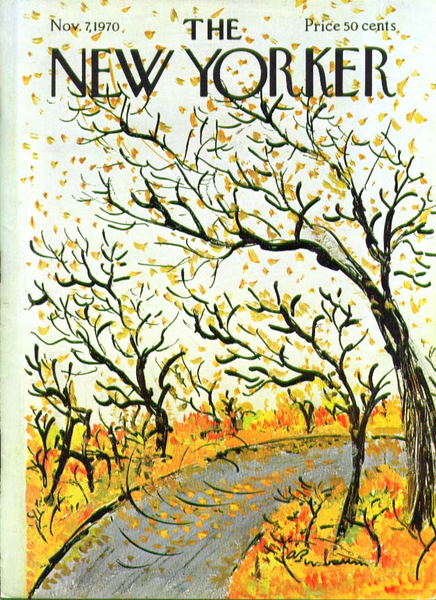 New Yorker cover Birnbaum blowing autumn leaves 11/7 1970