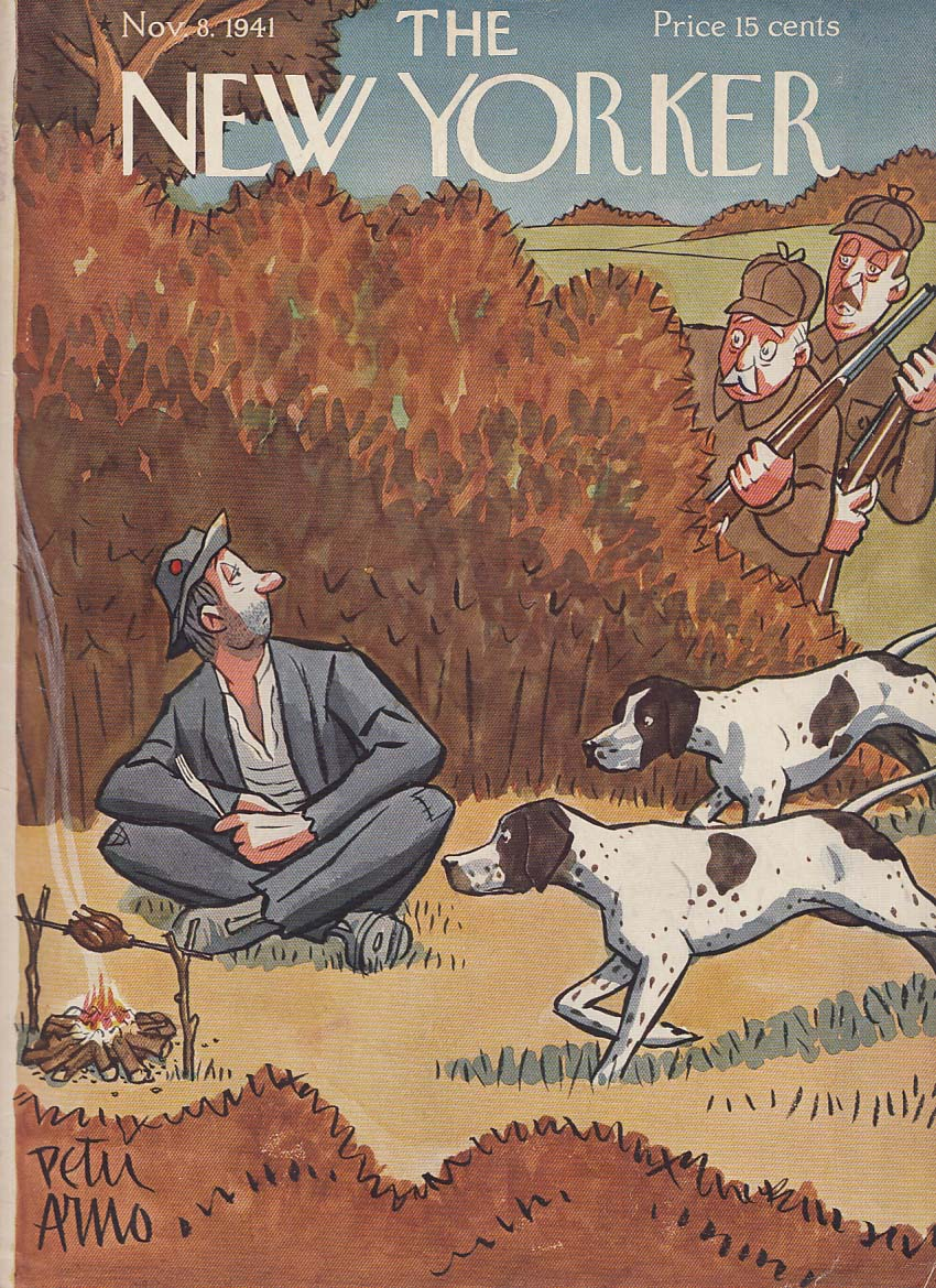 New Yorker cover 11/8 1941 Peter Arno pointers point hobo cooking partridge