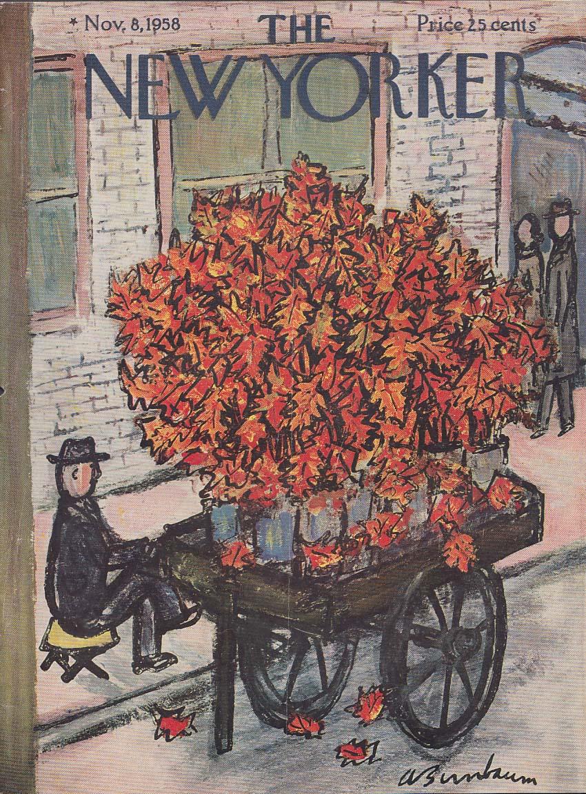 New Yorker cover Birnbaum fall leaf vendor 11/8 1958