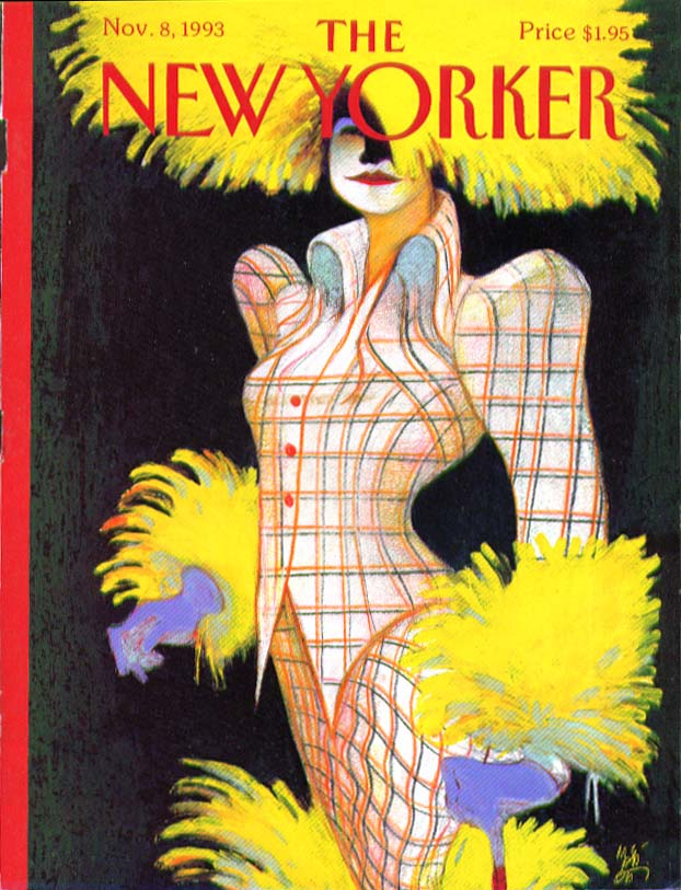 New Yorker cover Mattiotti yellow-feathered lady in checkered suit 11/8 1993
