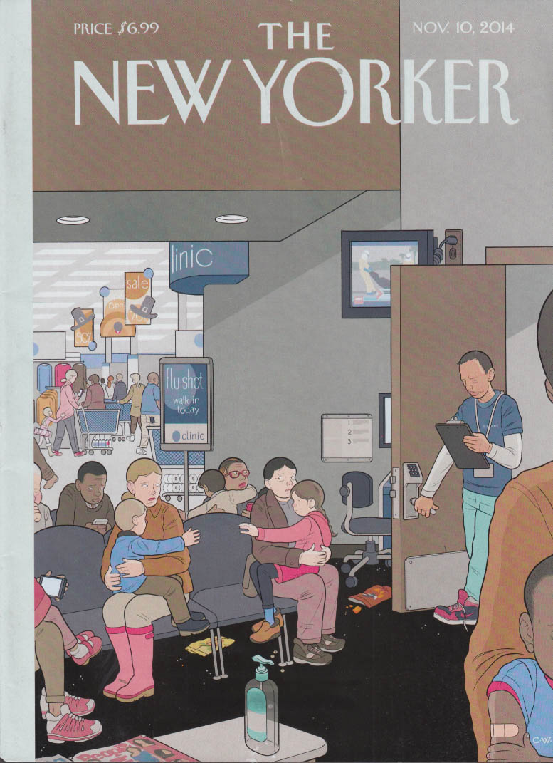 New Yorker cover 11/10 2014 C W: fear in the flu shot waiting room