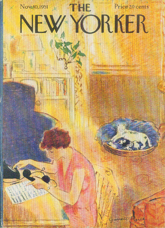 New Yorker cover Price phoning for kittens 11/10 1951