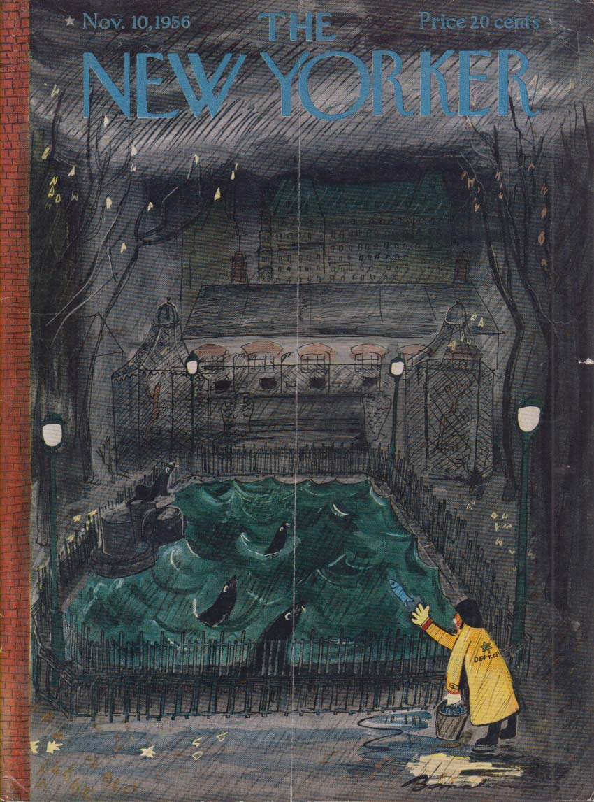 New Yorker cover Bemelmans feeding seals 11/10 1956