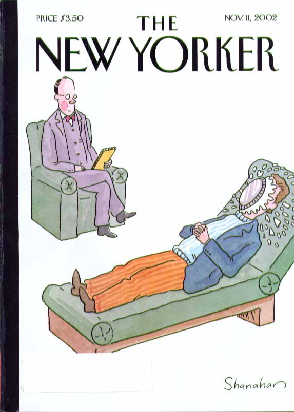 Image for New Yorker cover Shanahan psychiatrist & patient with pie in face 11/11 2002