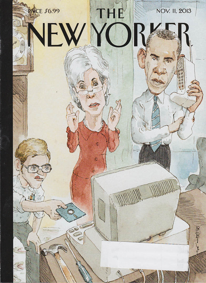 New Yorker cover 11/11 2013 Blitt: Obama & antique computer & cellphone