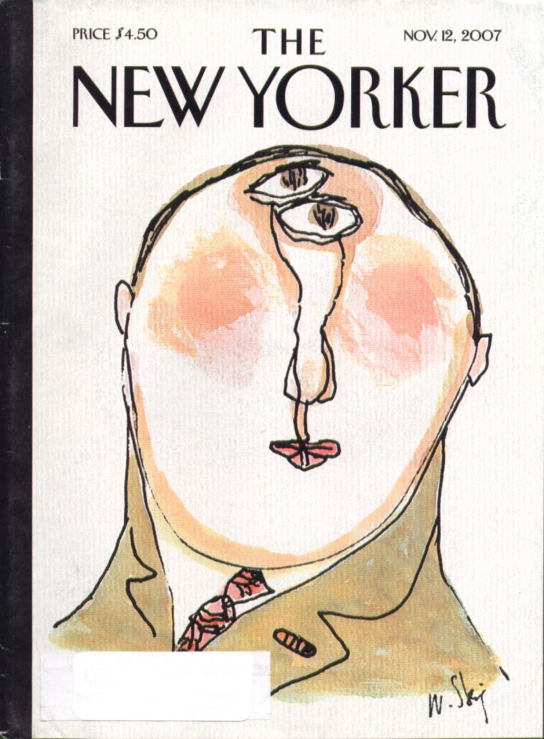 New Yorker cover Steig 2 eyes in forehead 11/12 2007