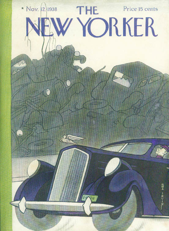 New Yorker cover Rea Irvin chauffeured Pierce-Arrow passes junkyard 11/12 1938