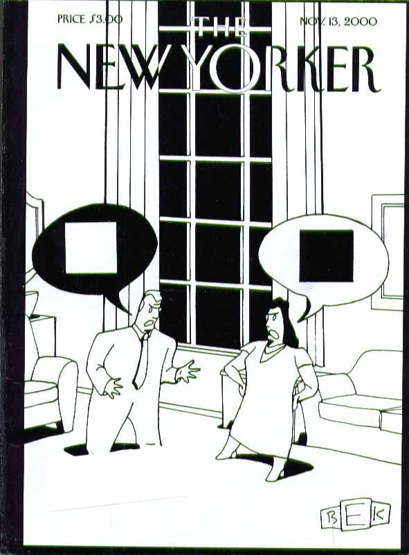 New Yorker cover Bruce Eric Kaplan couple argue black white black 11/13 2000