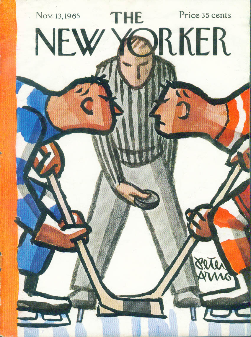 New Yorker cover Arno hockey faceoff 11/13 1965