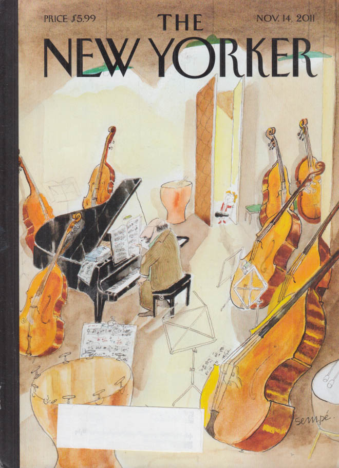 New Yorker cover 11/14 2011 Sempe: little student arrives music teacher studio