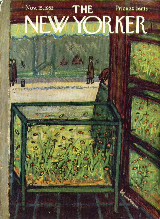 New Yorker cover Birnbaum tropical fish pet store 11/15 1952