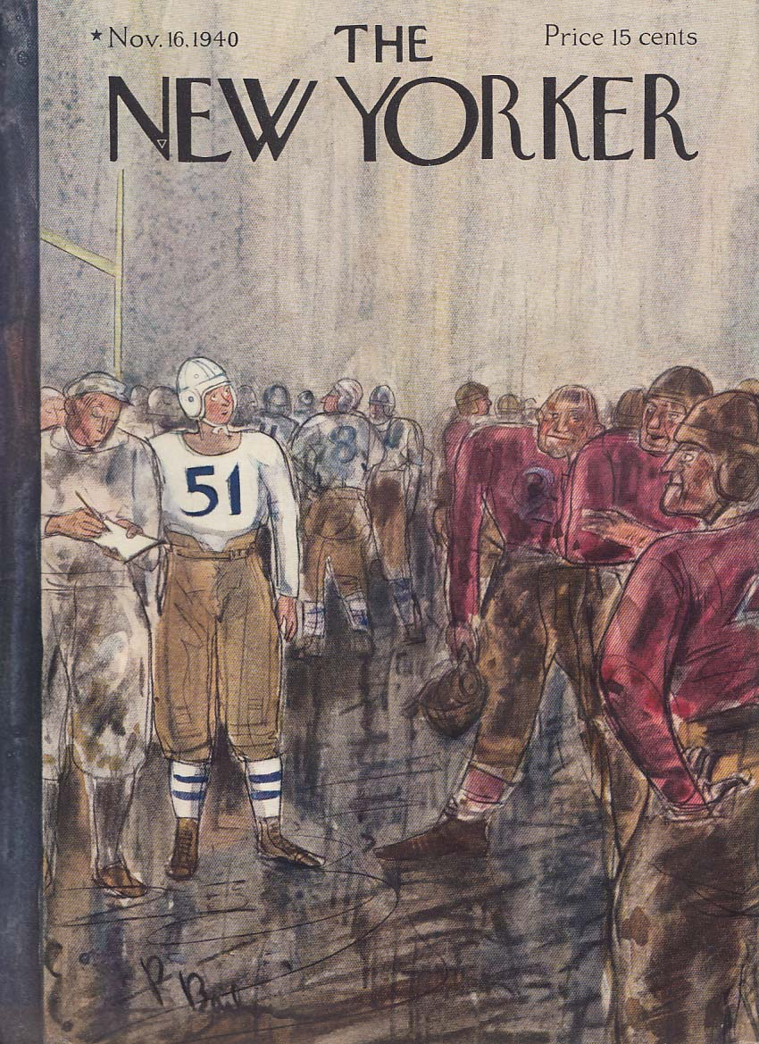New Yorker cover Barlow clean football suit 11/16 1940