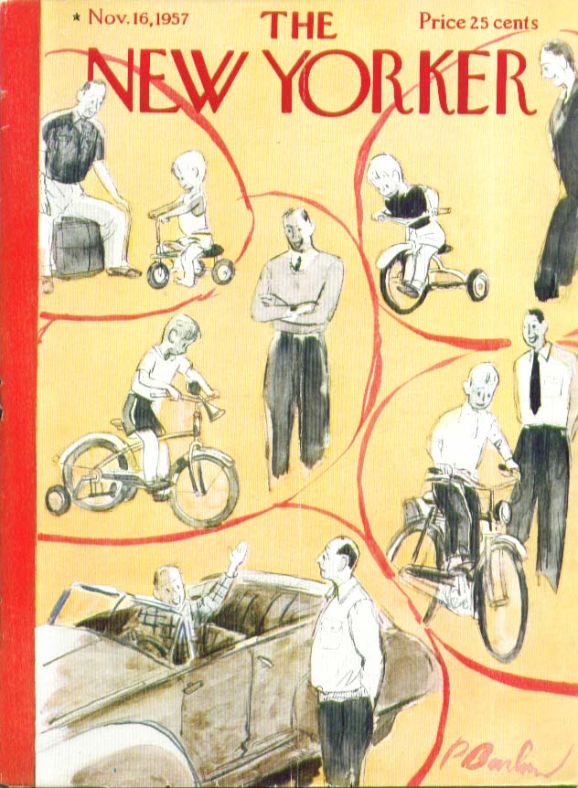 New Yorker cover Barlow trike, bike & ragtop: son growing up 11/16 1957